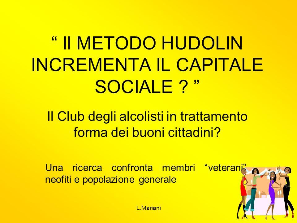 L.Mariani1 Il METODO HUDOLIN INCREMENTA IL CAPITALE SOCIALE ? Il Club degli alcolisti in trattamento forma dei buoni cittadini? Una ricerca confronta