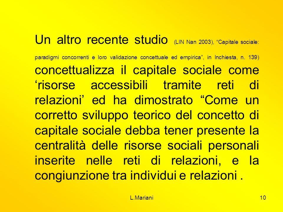 L.Mariani10 Un altro recente studio (LIN Nan 2003), Capitale sociale: paradigmi concorrenti e loro validazione concettuale ed empirica, in Inchiesta,