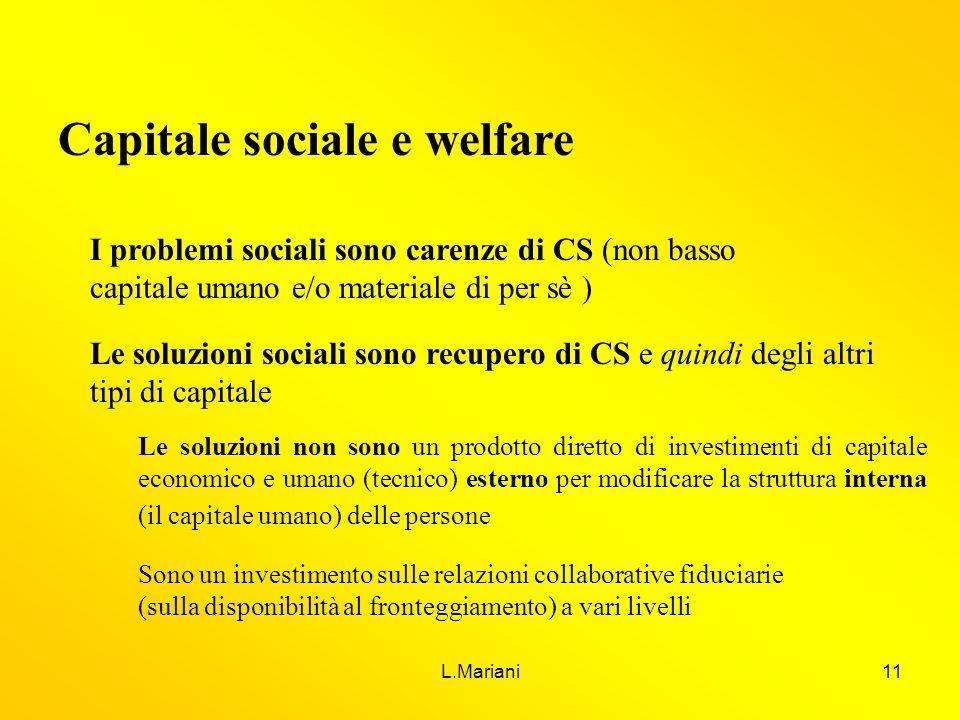 L.Mariani11 Capitale sociale e welfare I problemi sociali sono carenze di CS (non basso capitale umano e/o materiale di per sè ) Le soluzioni sociali