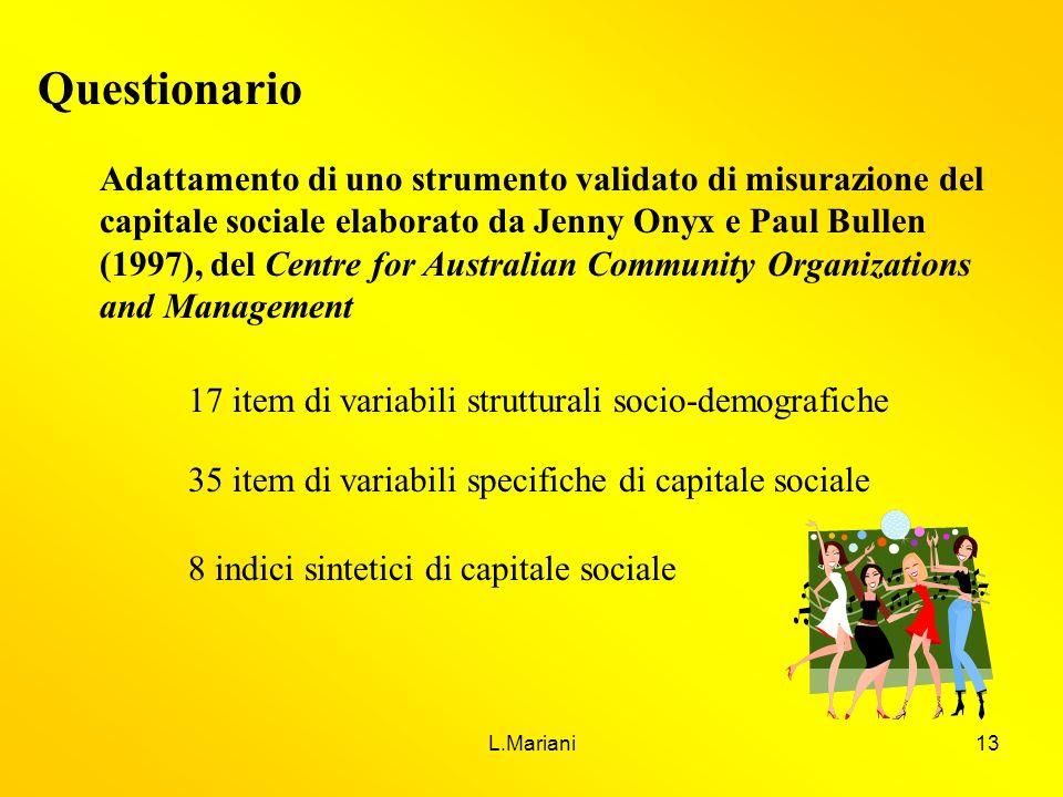 L.Mariani13 Questionario Adattamento di uno strumento validato di misurazione del capitale sociale elaborato da Jenny Onyx e Paul Bullen (1997), del C