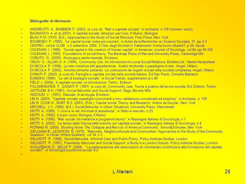 L.Mariani25 Bibliografia di riferimento ANDREOTTI A., BARBIERI P. (2003) (a cura di), Reti e capitale sociale, in Inchiesta, n.139 (numero unico) BAGN