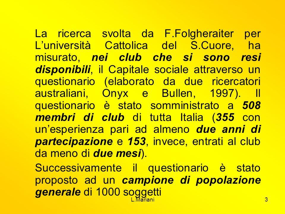 L.Mariani14 Questionario- indici Proattività nel contesto sociale Senso di fiducia e di sicurezza Legami di vicinato Partecipazione alla comunità Le capita di partecipare a qualche iniziativa di volontariato.