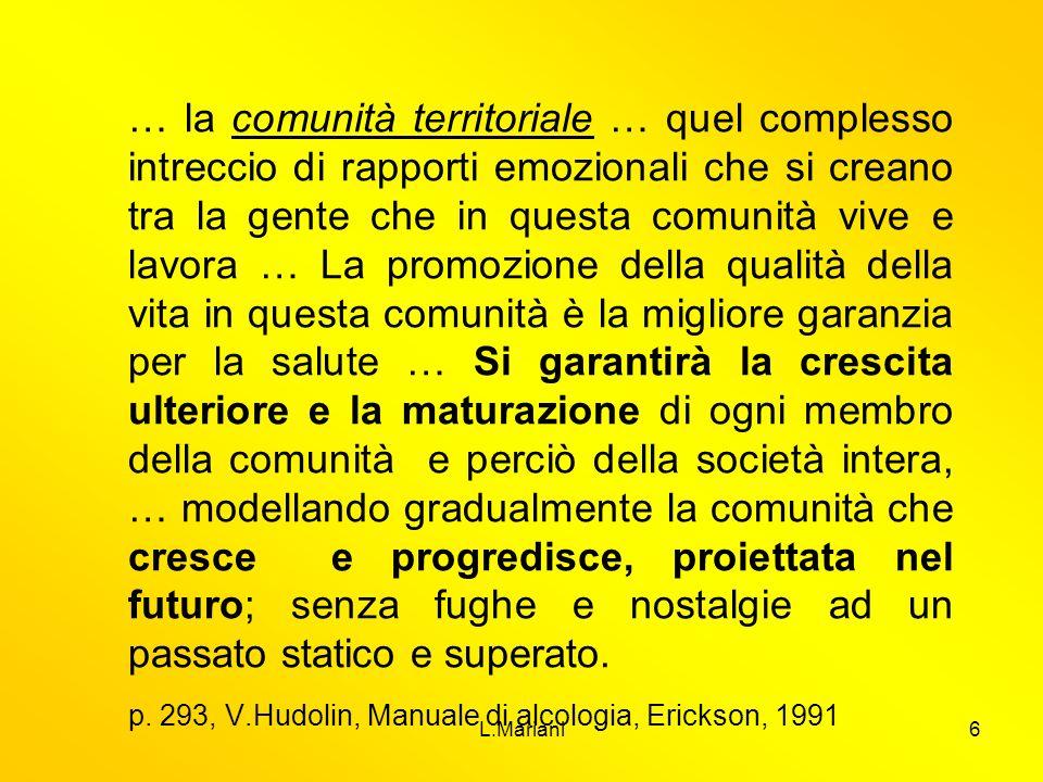 L.Mariani6 … la comunità territoriale … quel complesso intreccio di rapporti emozionali che si creano tra la gente che in questa comunità vive e lavor