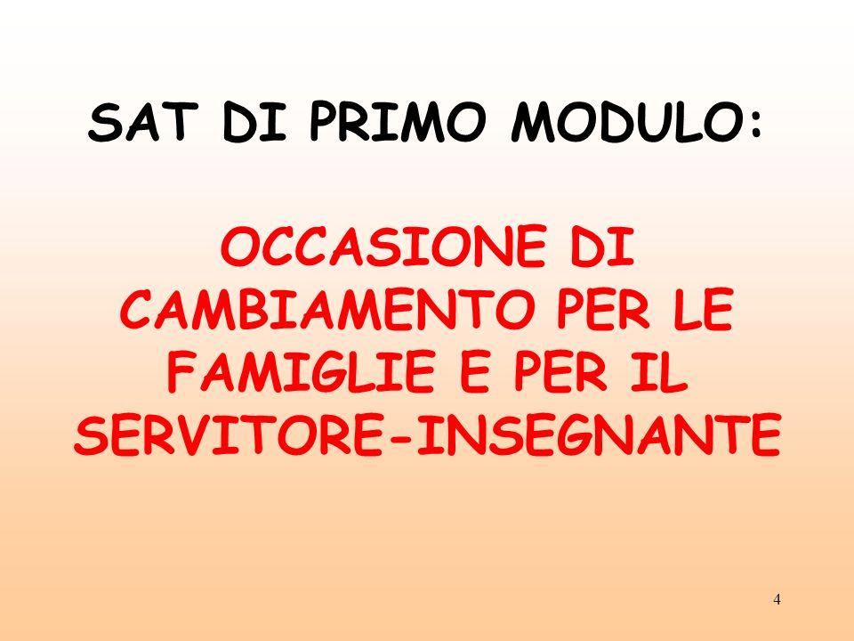 4 SAT DI PRIMO MODULO: OCCASIONE DI CAMBIAMENTO PER LE FAMIGLIE E PER IL SERVITORE-INSEGNANTE