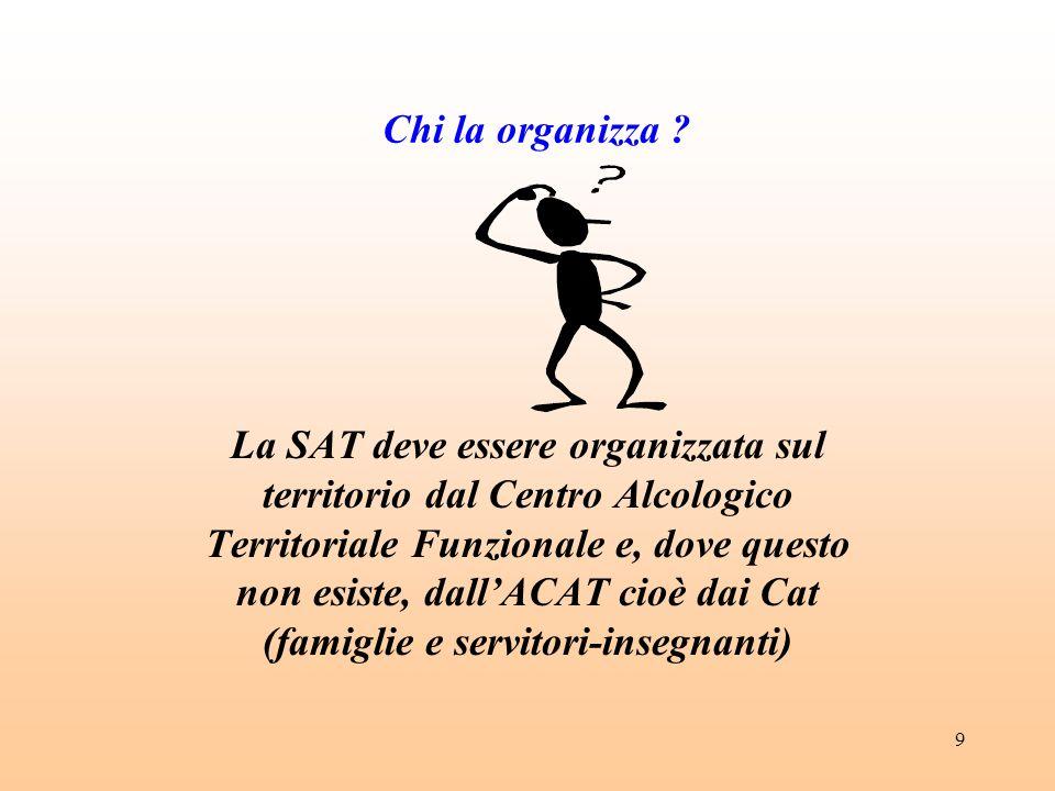 9 Chi la organizza ? La SAT deve essere organizzata sul territorio dal Centro Alcologico Territoriale Funzionale e, dove questo non esiste, dallACAT c