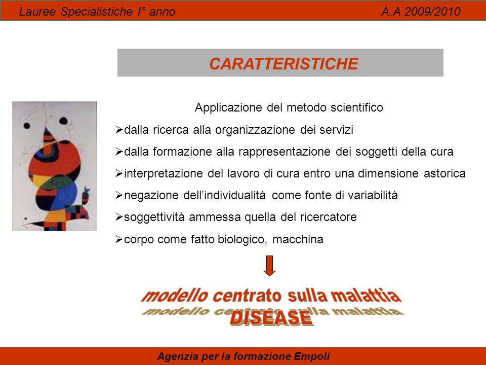 Lauree Specialistiche I° anno A.A 2009/2010 CARATTERISTICHE Agenzia per la formazione Empoli Applicazione del metodo scientifico dalla ricerca alla or