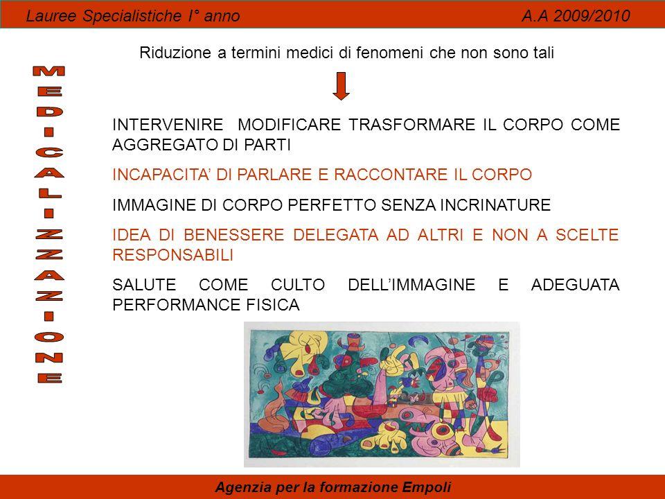 Lauree Specialistiche I° anno A.A 2009/2010 Agenzia per la formazione Empoli Riduzione a termini medici di fenomeni che non sono tali INTERVENIRE MODI
