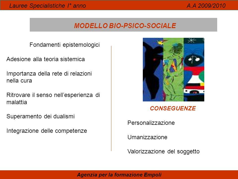 Lauree Specialistiche I° anno A.A 2009/2010 MODELLO BIO-PSICO-SOCIALE Agenzia per la formazione Empoli Fondamenti epistemologici Adesione alla teoria