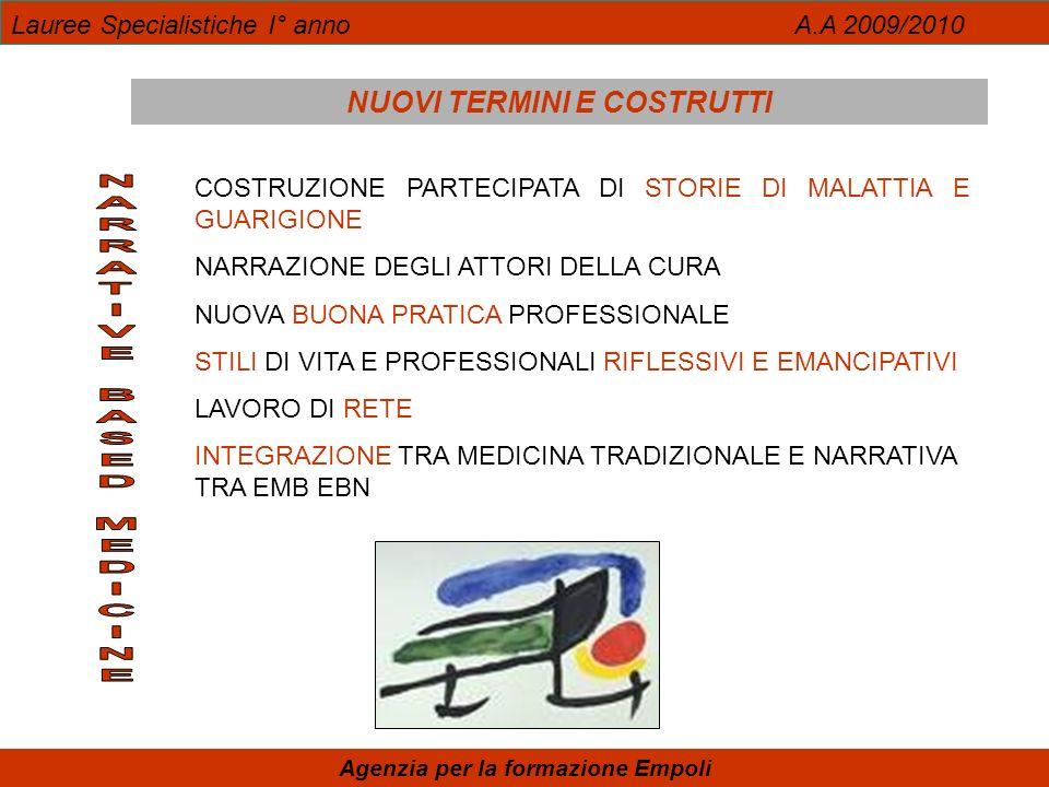 Lauree Specialistiche I° anno A.A 2009/2010 Agenzia per la formazione Empoli NUOVI TERMINI E COSTRUTTI COSTRUZIONE PARTECIPATA DI STORIE DI MALATTIA E GUARIGIONE NARRAZIONE DEGLI ATTORI DELLA CURA NUOVA BUONA PRATICA PROFESSIONALE STILI DI VITA E PROFESSIONALI RIFLESSIVI E EMANCIPATIVI LAVORO DI RETE INTEGRAZIONE TRA MEDICINA TRADIZIONALE E NARRATIVA TRA EMB EBN