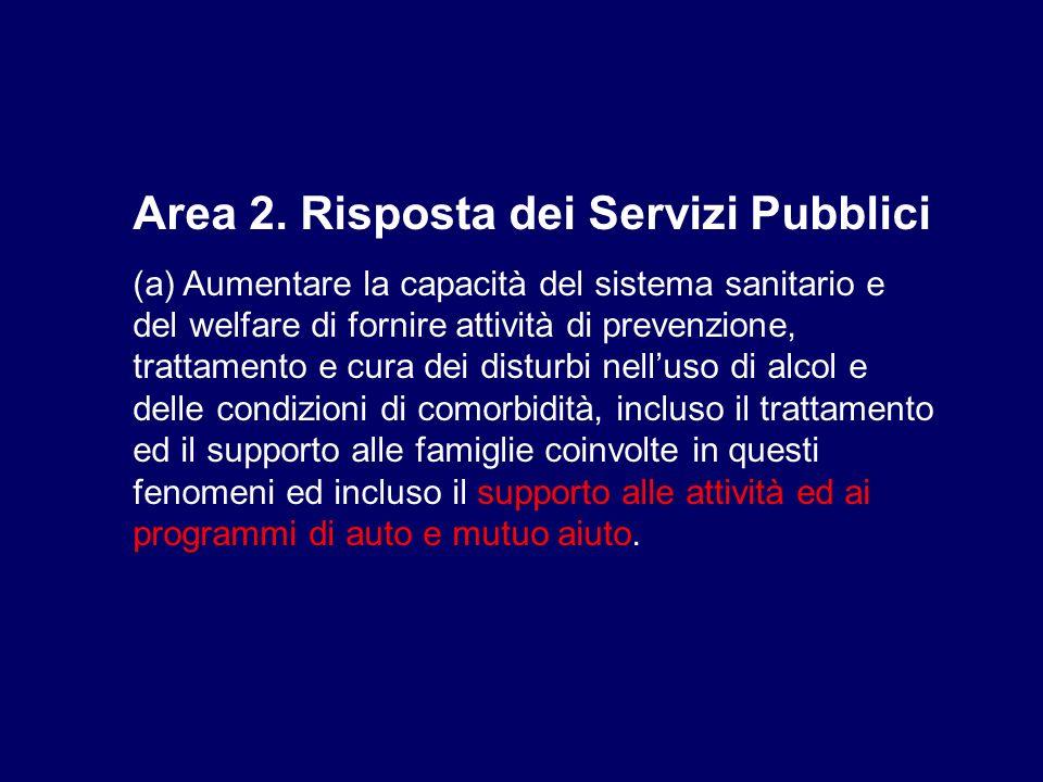 Area 2. Risposta dei Servizi Pubblici (a) Aumentare la capacità del sistema sanitario e del welfare di fornire attività di prevenzione, trattamento e