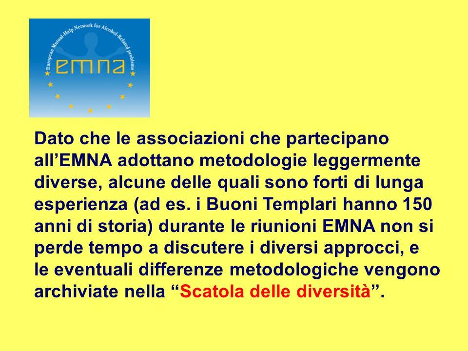 Dato che le associazioni che partecipano allEMNA adottano metodologie leggermente diverse, alcune delle quali sono forti di lunga esperienza (ad es. i