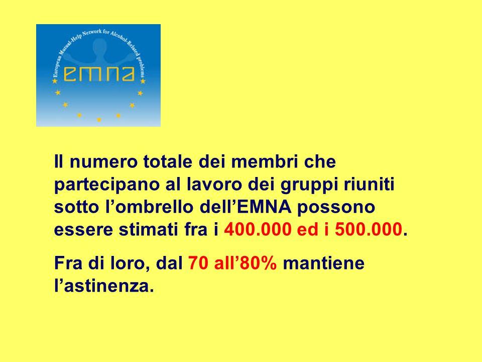 Il numero totale dei membri che partecipano al lavoro dei gruppi riuniti sotto lombrello dellEMNA possono essere stimati fra i 400.000 ed i 500.000. F