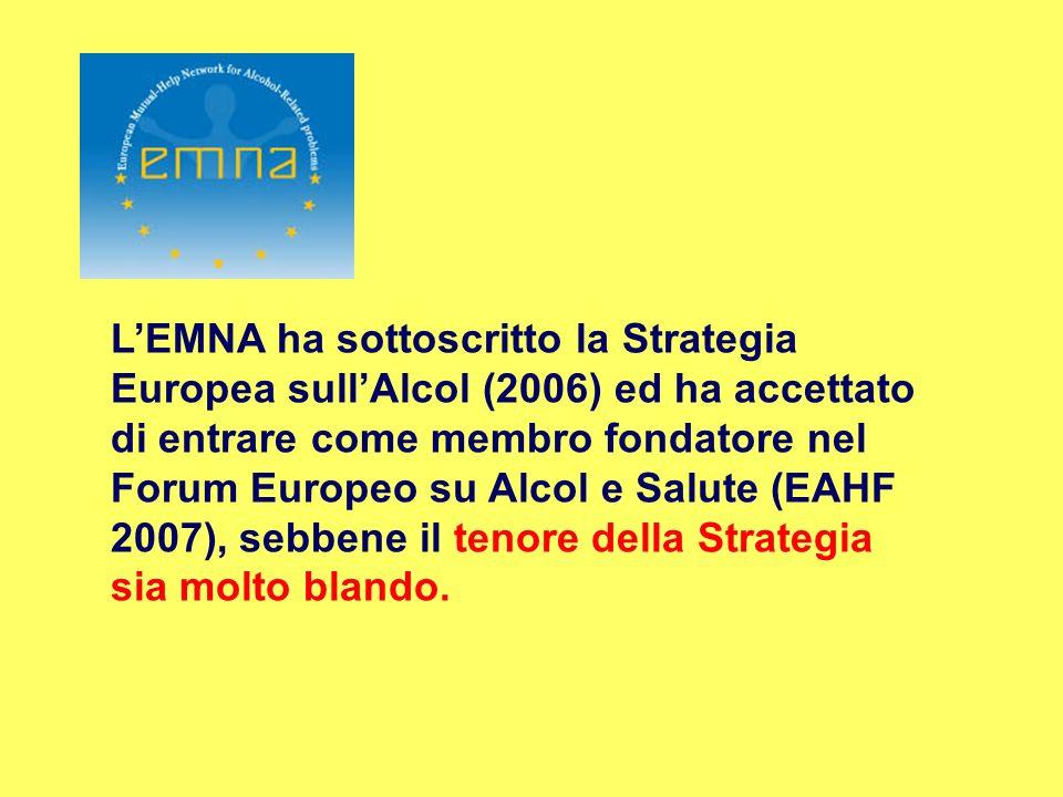 LEMNA ha sottoscritto la Strategia Europea sullAlcol (2006) ed ha accettato di entrare come membro fondatore nel Forum Europeo su Alcol e Salute (EAHF