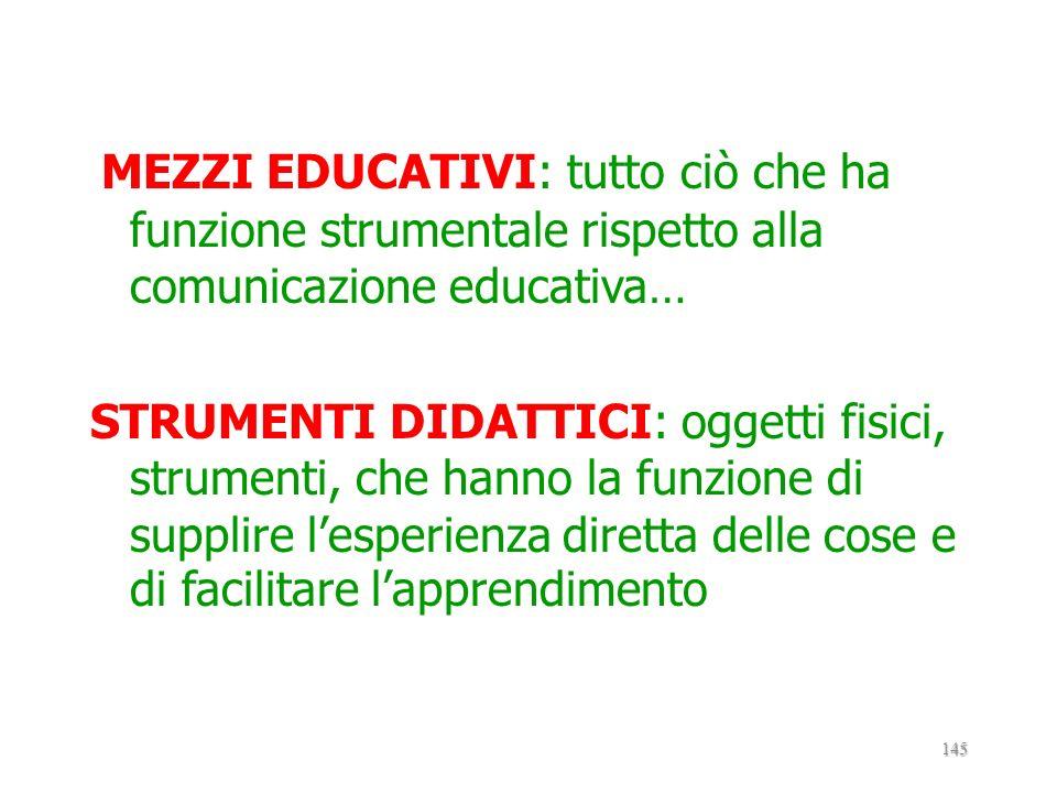 3.1. MEZZI EDUCATIVI E TECNICHE DIDATTICHE MEZZI EDUCATIVI Strumenti Tecniche didattici didattiche 144