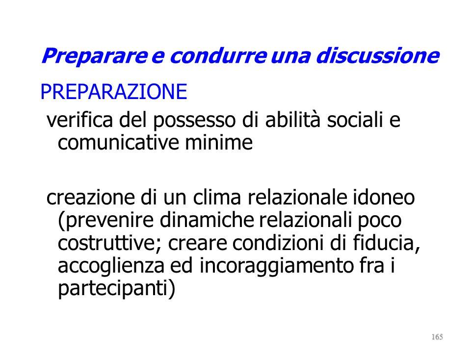 Ruolo del conduttore propone il tema in discussione fa emergere nodi critici aiuta a chiarire concetti e ragionamenti valorizza le logiche argomentati