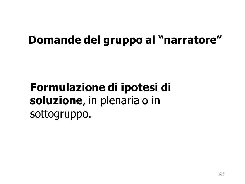 Fasi autocaso (Castagna,1991) : Scelta del caso,In plenaria o in gruppo, sulla base di alcuni criteri prestabiliti. Racconto del partecipante narrator