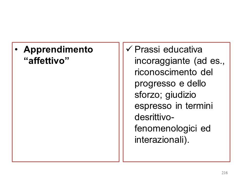 Apprendimento consapevole Reciprocità comunicativa; stimoli allautovalutazione. 215