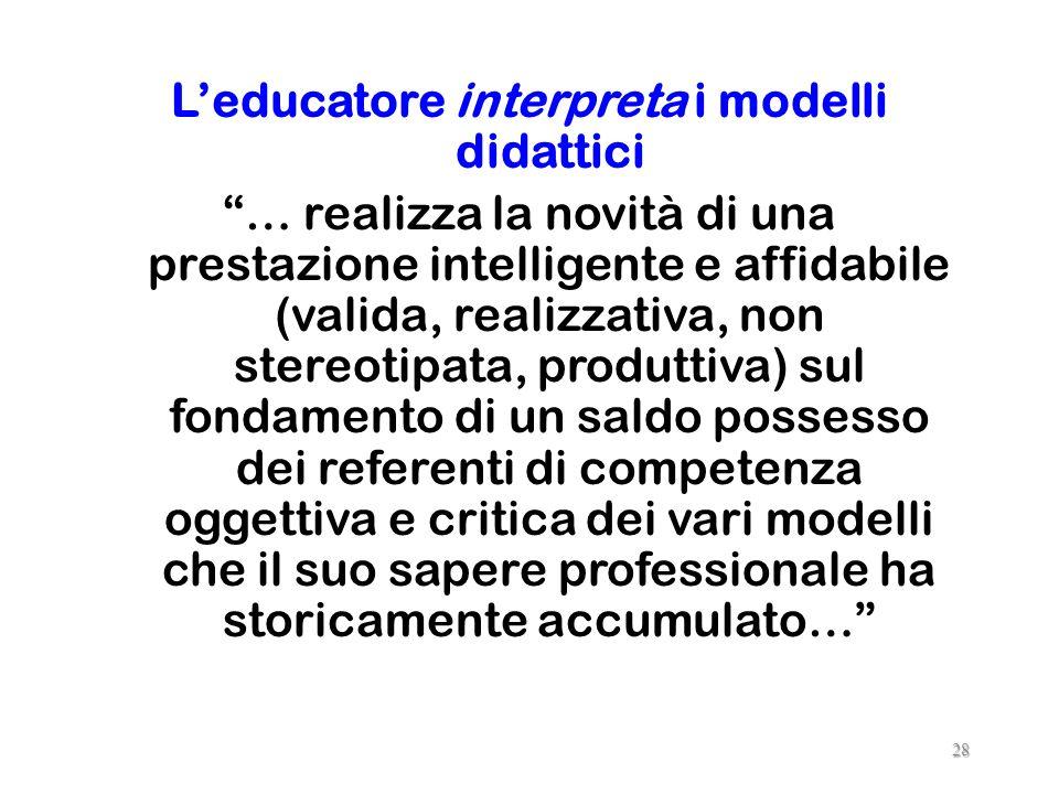 CARATTERISTICHE DI UN MODELLO DIDATTICO Riduzione Accentuazione Trasparenza Prospettiva Produttività 27