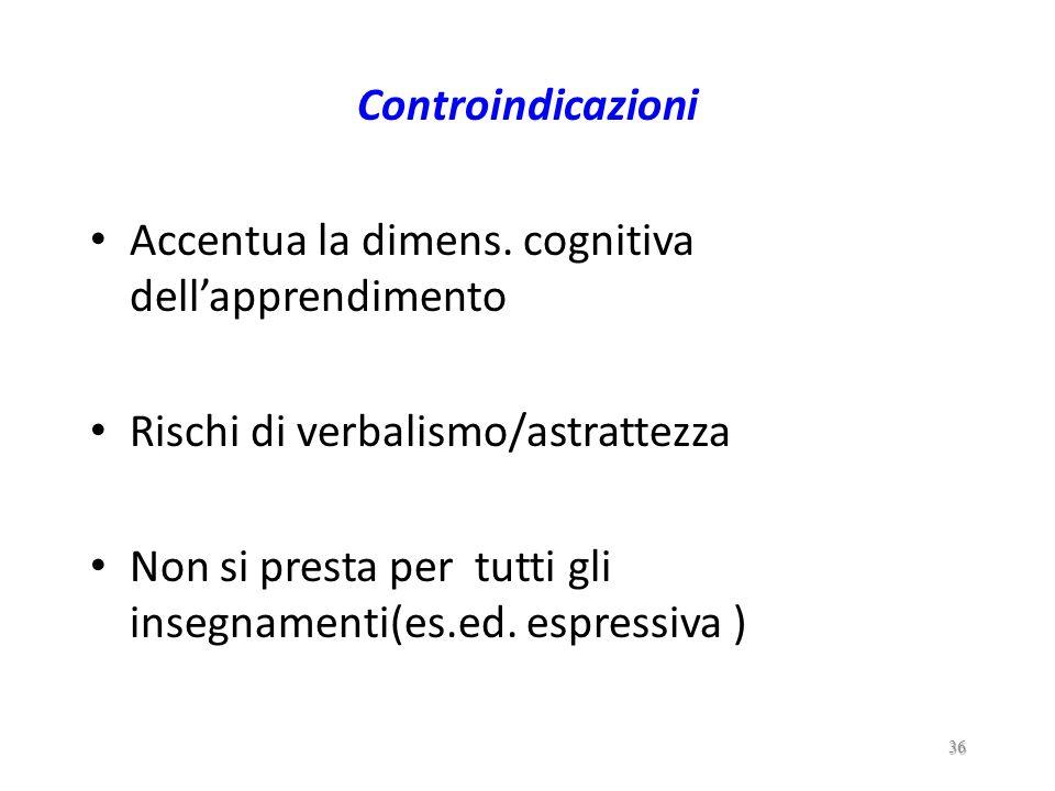 Indicazioni Attenzione per i concetti- chiave Congruenza matrice cogn. degli allievi Flessibilità nelle tecniche didattiche Favorisce la formalizzaz.