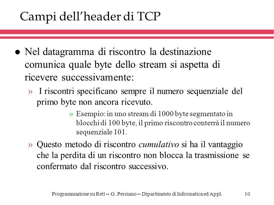 Programmazione su Reti -- G. Persiano -- Dipartimento di Informatica ed Appl.10 Campi dellheader di TCP l Nel datagramma di riscontro la destinazione