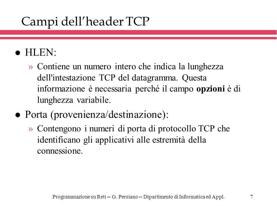 Programmazione su Reti -- G. Persiano -- Dipartimento di Informatica ed Appl.7 Campi dellheader TCP l HLEN: »Contiene un numero intero che indica la l