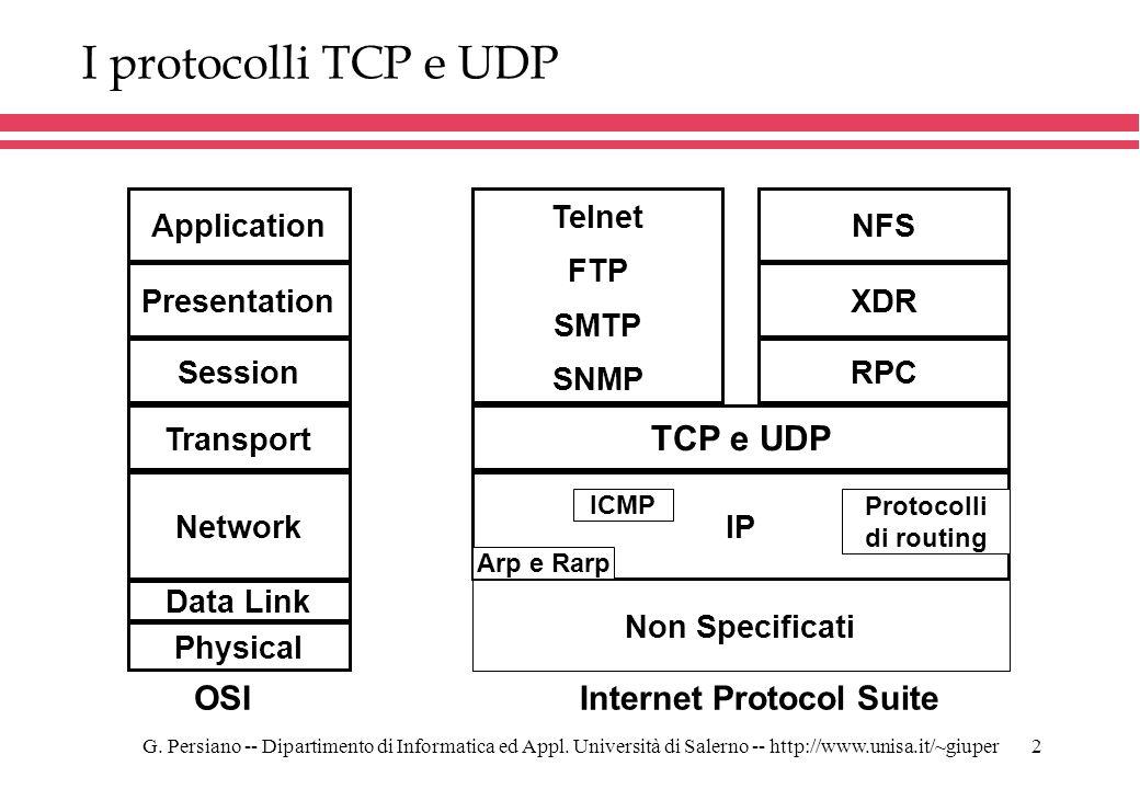 G. Persiano -- Dipartimento di Informatica ed Appl. Università di Salerno -- http://www.unisa.it/~giuper2 I protocolli TCP e UDP OSI Application Prese