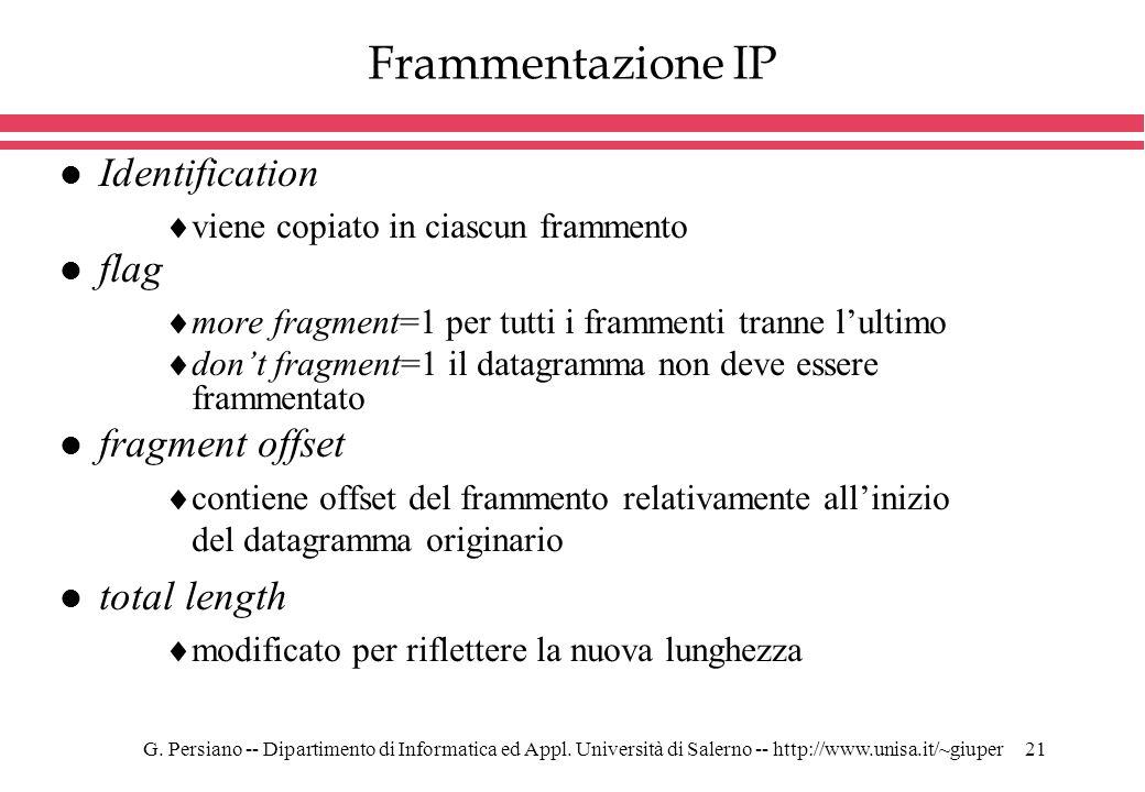 G. Persiano -- Dipartimento di Informatica ed Appl. Università di Salerno -- http://www.unisa.it/~giuper21 Frammentazione IP l Identification viene co