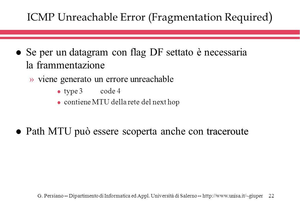 G. Persiano -- Dipartimento di Informatica ed Appl. Università di Salerno -- http://www.unisa.it/~giuper22 ICMP Unreachable Error (Fragmentation Requi