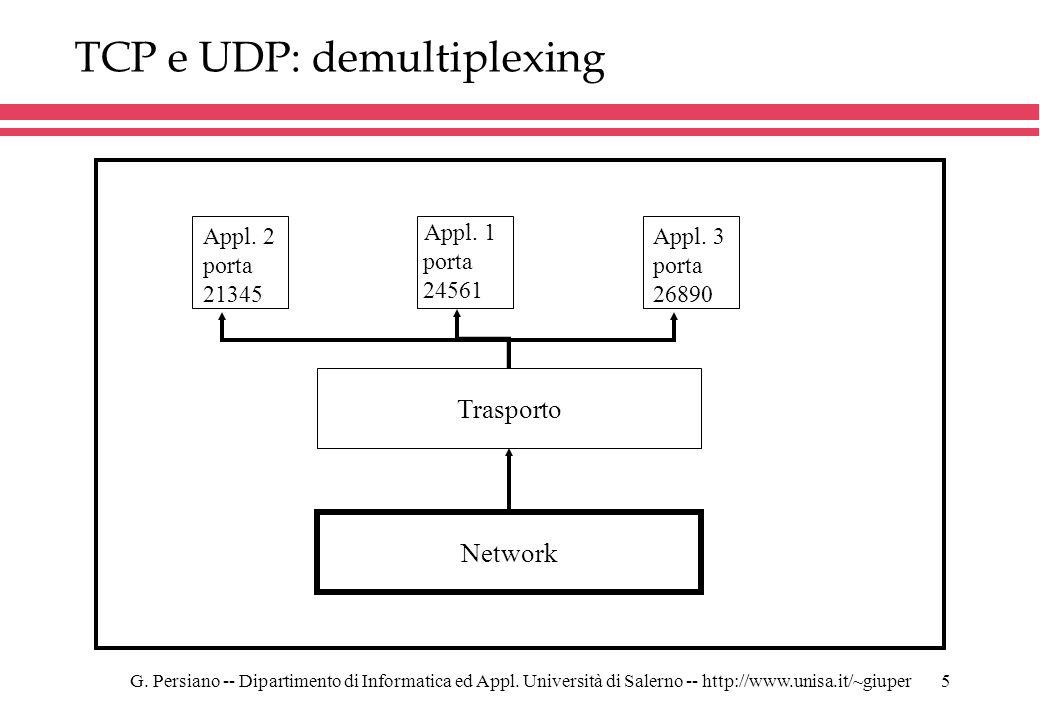 G. Persiano -- Dipartimento di Informatica ed Appl. Università di Salerno -- http://www.unisa.it/~giuper5 TCP e UDP: demultiplexing Appl. 3 porta 2689