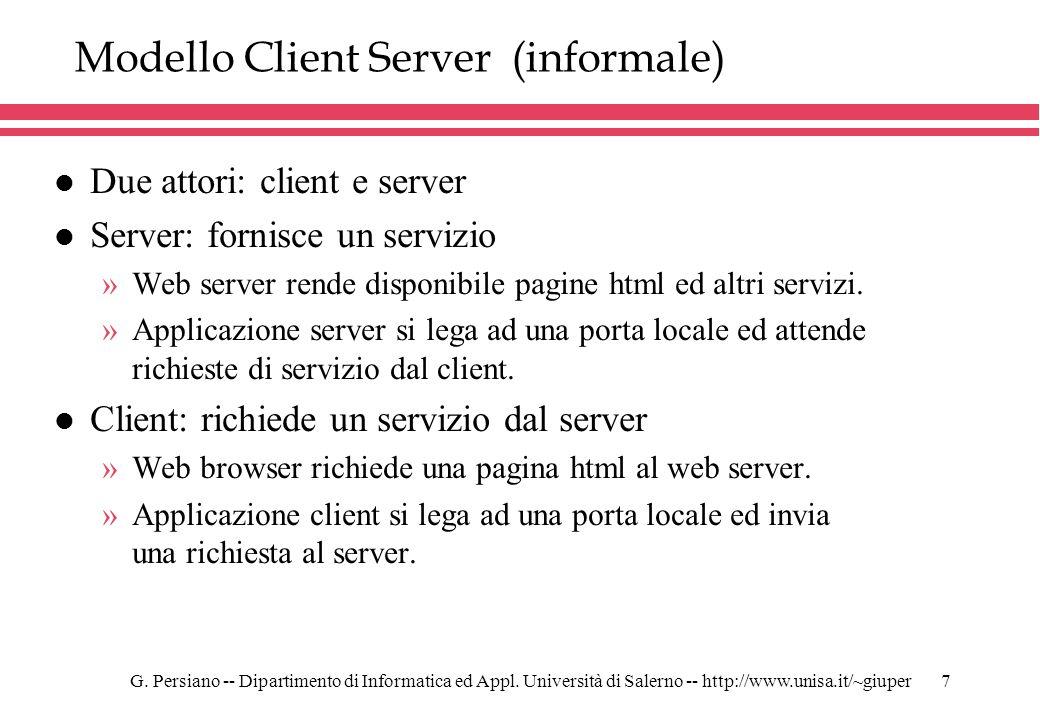 G. Persiano -- Dipartimento di Informatica ed Appl. Università di Salerno -- http://www.unisa.it/~giuper7 Modello Client Server (informale) l Due atto