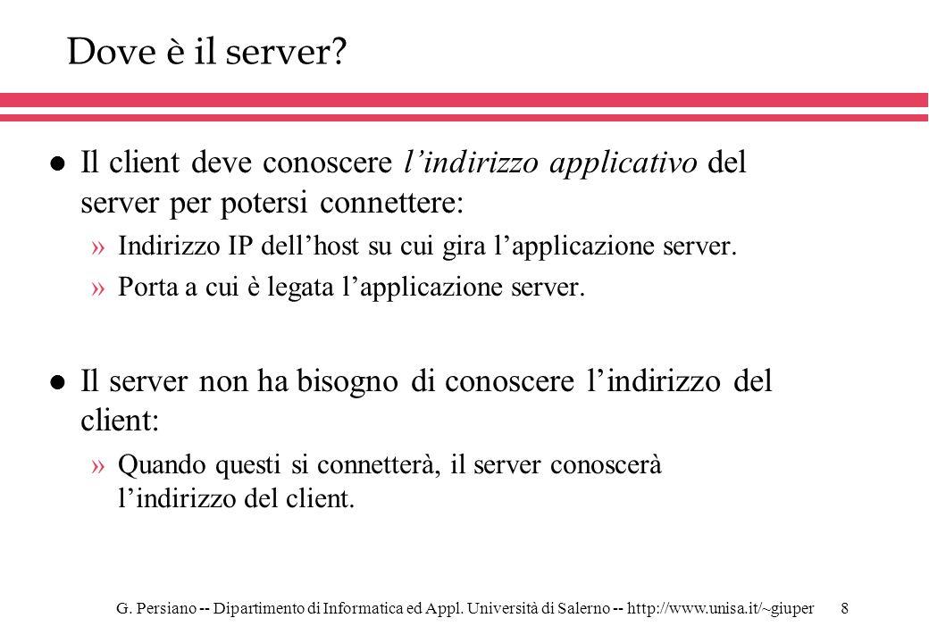 G. Persiano -- Dipartimento di Informatica ed Appl. Università di Salerno -- http://www.unisa.it/~giuper8 Dove è il server? l Il client deve conoscere