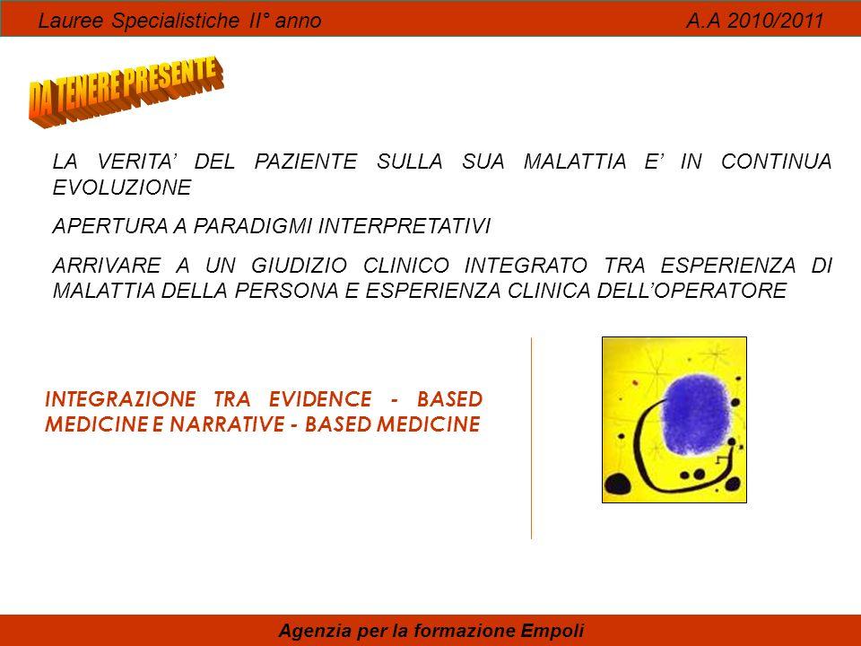 INTEGRAZIONE TRA EVIDENCE - BASED MEDICINE E NARRATIVE - BASED MEDICINE Lauree Specialistiche II° anno A.A 2010/2011 Agenzia per la formazione Empoli
