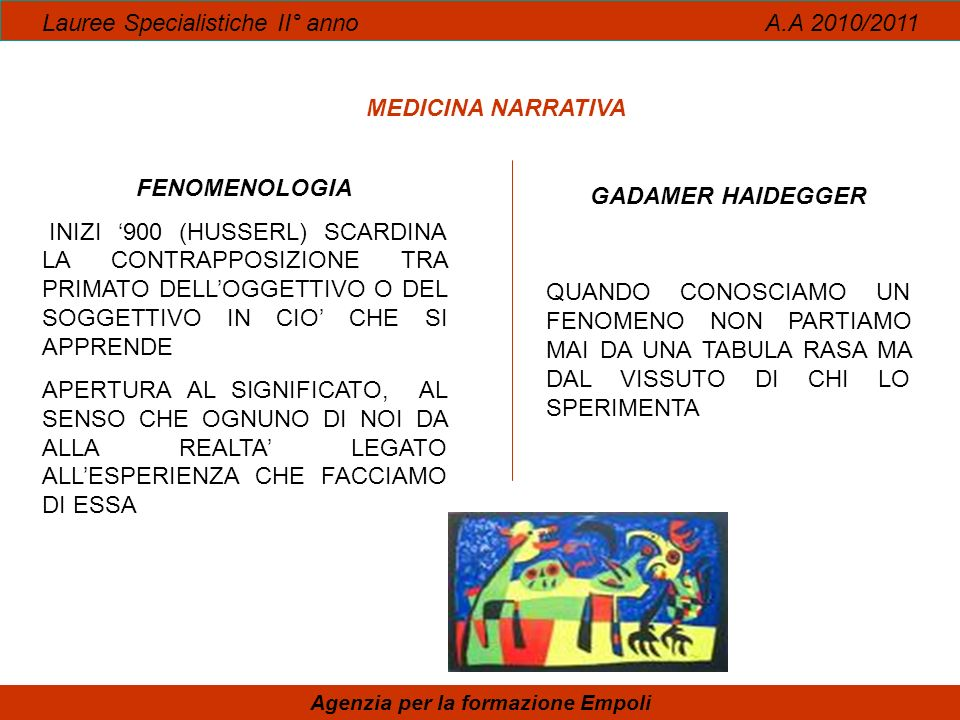 Lauree Specialistiche II° anno A.A 2010/2011 Agenzia per la formazione Empoli MEDICINA NARRATIVA FENOMENOLOGIA INIZI 900 (HUSSERL) SCARDINA LA CONTRAP