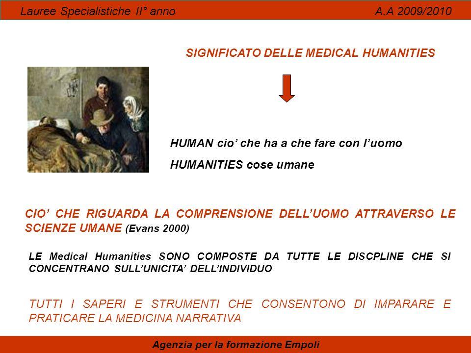 Lauree Specialistiche II° anno A.A 2009/2010 Agenzia per la formazione Empoli SIGNIFICATO DELLE MEDICAL HUMANITIES HUMAN cio che ha a che fare con luo