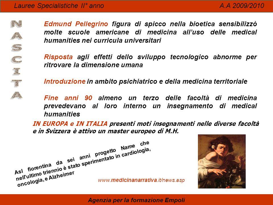 Lauree Specialistiche II° anno A.A 2009/2010 Agenzia per la formazione Empoli IN EUROPA e IN ITALIA presenti moti insegnamenti nelle diverse facoltà e
