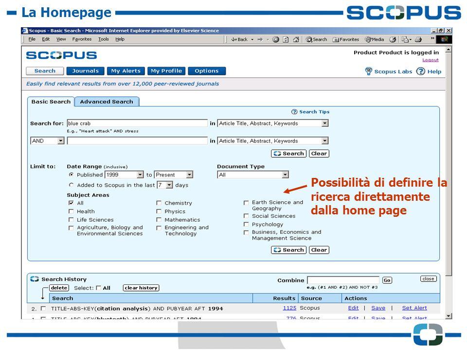 Possibilità di definire la ricerca direttamente dalla home page La Homepage