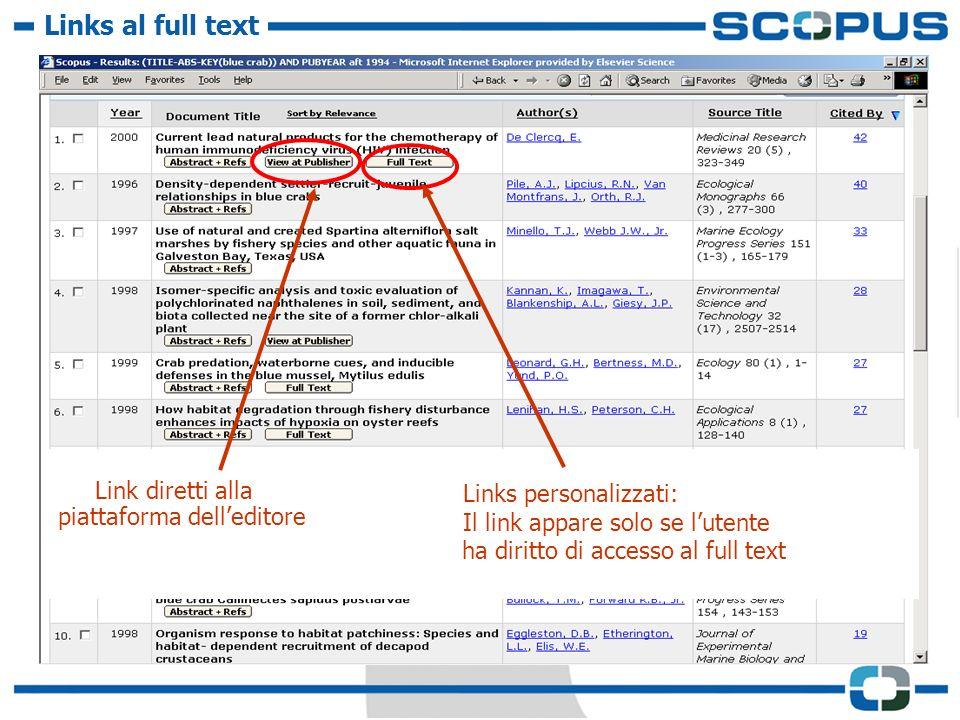 Links al full text Link diretti alla piattaforma delleditore Links personalizzati: Il link appare solo se lutente ha diritto di accesso al full text