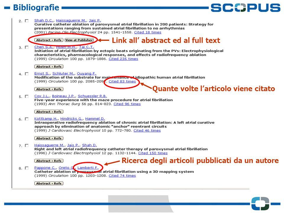 Bibliografie Quante volte larticolo viene citato Ricerca degli articoli pubblicati da un autore Link all abstract ed al full text