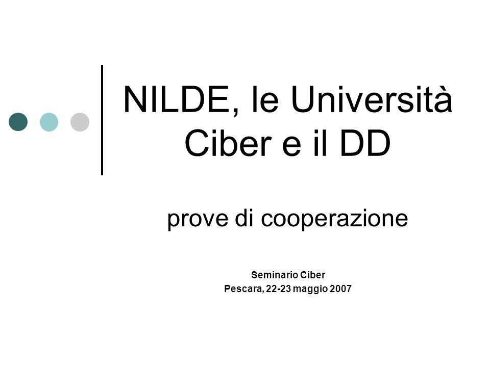 NILDE, le Università Ciber e il DD prove di cooperazione Seminario Ciber Pescara, 22-23 maggio 2007