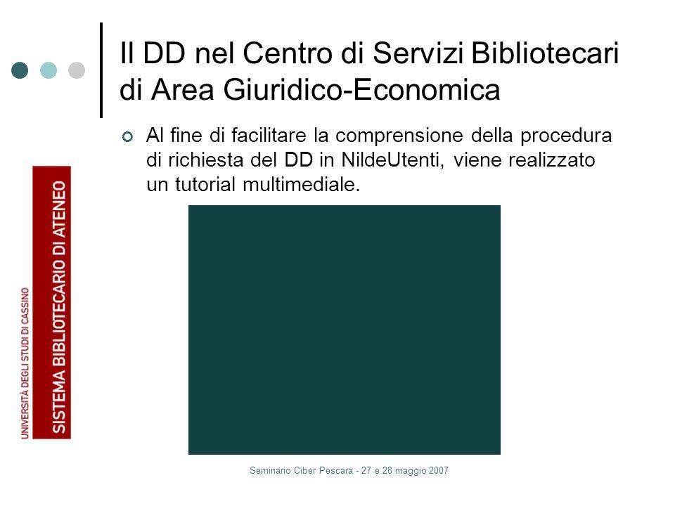 Seminario Ciber Pescara - 27 e 28 maggio 2007 Il DD nel Centro di Servizi Bibliotecari di Area Giuridico-Economica Al fine di facilitare la comprensione della procedura di richiesta del DD in NildeUtenti, viene realizzato un tutorial multimediale.