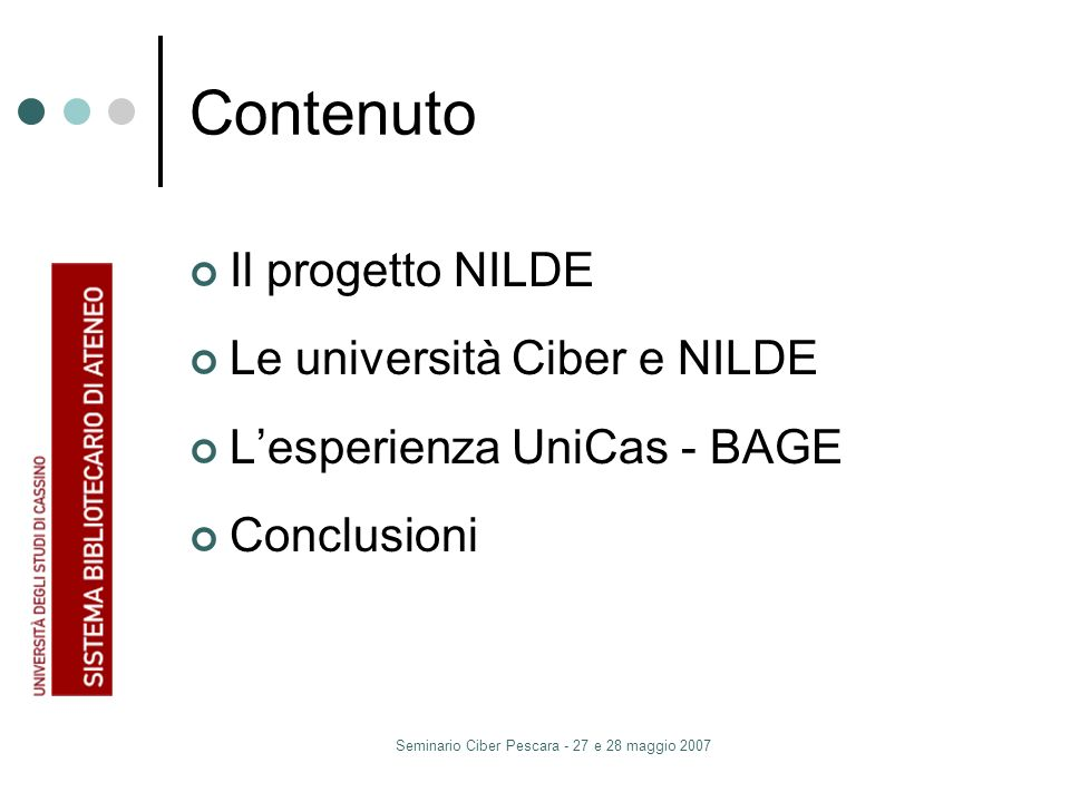 Seminario Ciber Pescara - 27 e 28 maggio 2007 Contenuto Il progetto NILDE Le università Ciber e NILDE Lesperienza UniCas - BAGE Conclusioni