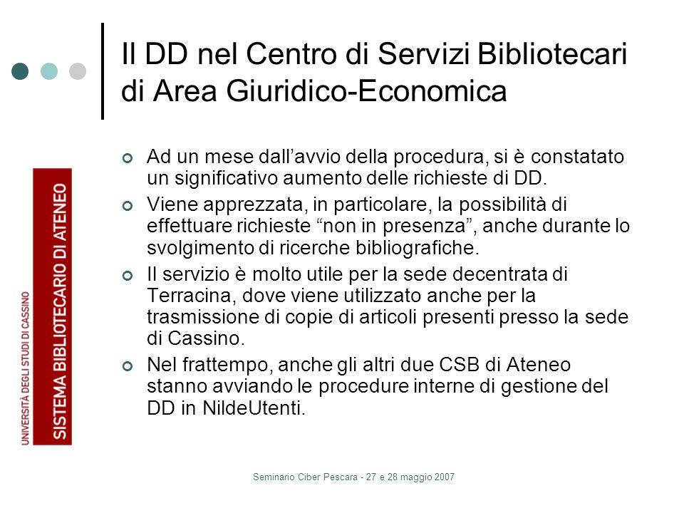 Seminario Ciber Pescara - 27 e 28 maggio 2007 Il DD nel Centro di Servizi Bibliotecari di Area Giuridico-Economica Ad un mese dallavvio della procedura, si è constatato un significativo aumento delle richieste di DD.