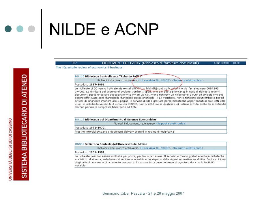 Seminario Ciber Pescara - 27 e 28 maggio 2007 NILDE e ACNP