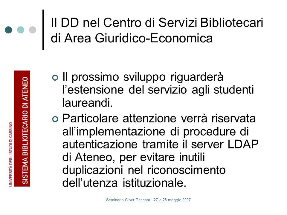 Seminario Ciber Pescara - 27 e 28 maggio 2007 Il DD nel Centro di Servizi Bibliotecari di Area Giuridico-Economica Il prossimo sviluppo riguarderà lestensione del servizio agli studenti laureandi.
