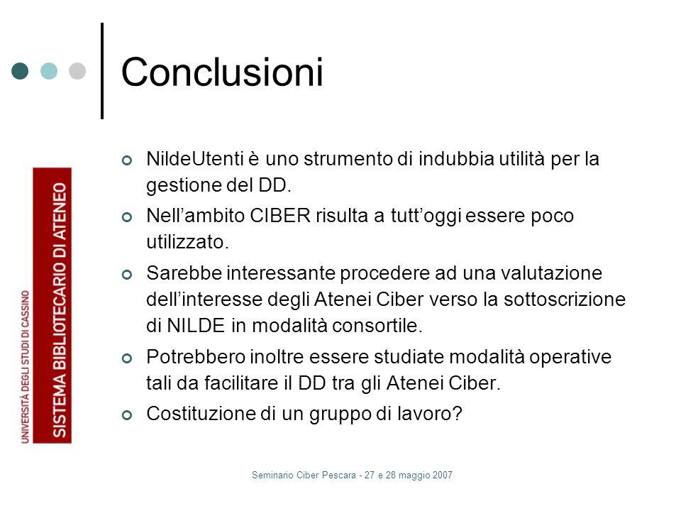 Seminario Ciber Pescara - 27 e 28 maggio 2007 Conclusioni NildeUtenti è uno strumento di indubbia utilità per la gestione del DD.
