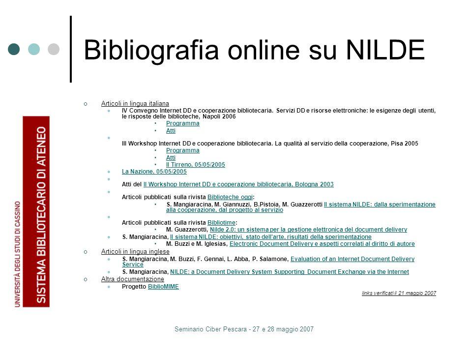Seminario Ciber Pescara - 27 e 28 maggio 2007 Bibliografia online su NILDE Articoli in lingua italiana IV Convegno Internet DD e cooperazione bibliotecaria.