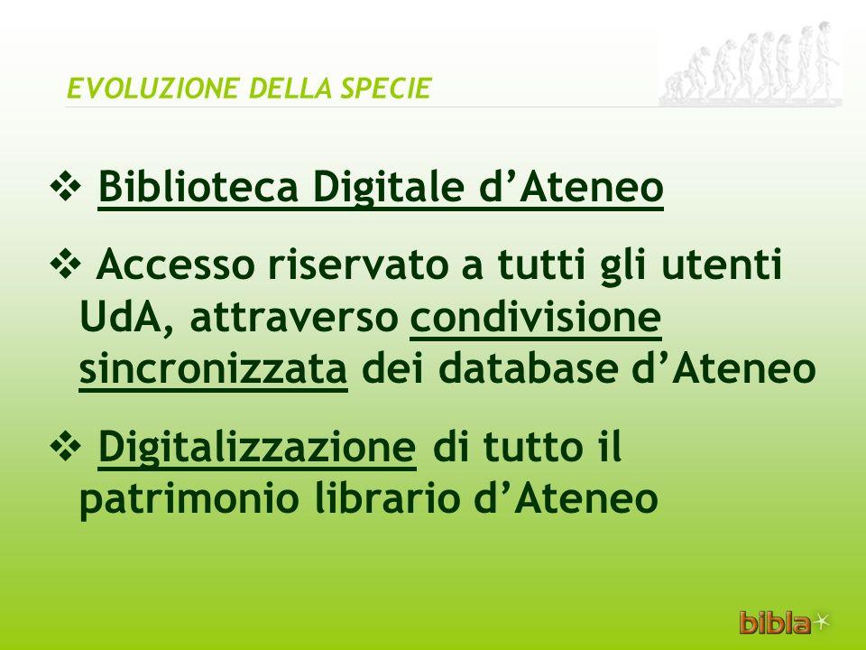 Biblioteca Digitale dAteneo Accesso riservato a tutti gli utenti UdA, attraverso condivisione sincronizzata dei database dAteneo Digitalizzazione di tutto il patrimonio librario dAteneo EVOLUZIONE DELLA SPECIE