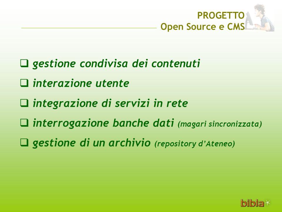 gestione condivisa dei contenuti interazione utente integrazione di servizi in rete interrogazione banche dati (magari sincronizzata) gestione di un archivio (repository dAteneo) PROGETTO Open Source e CMS