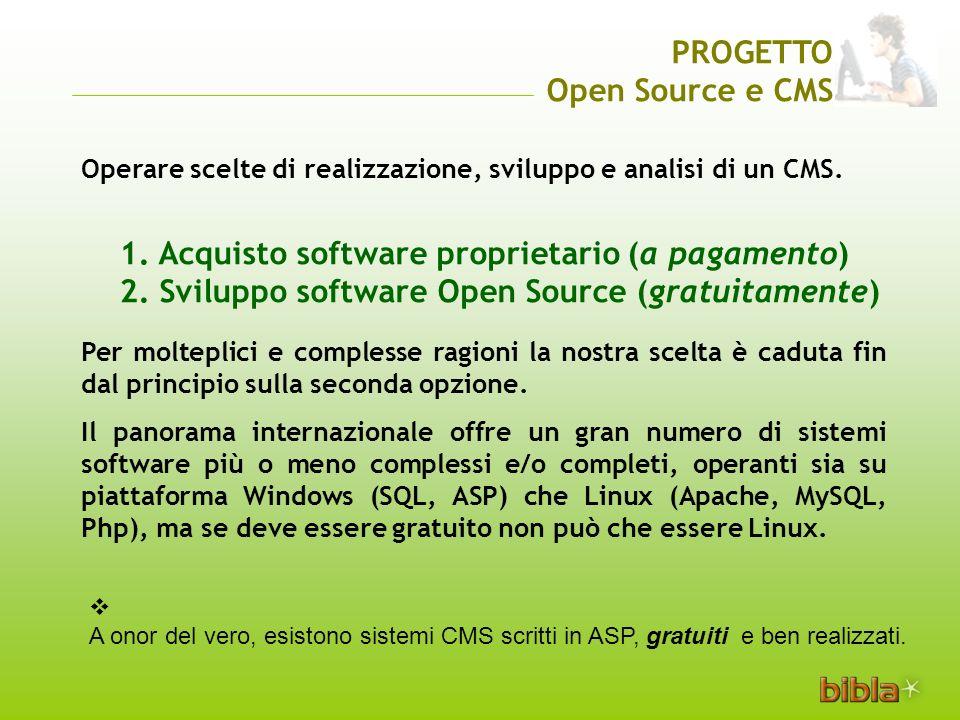 1. Acquisto software proprietario (a pagamento) 2.