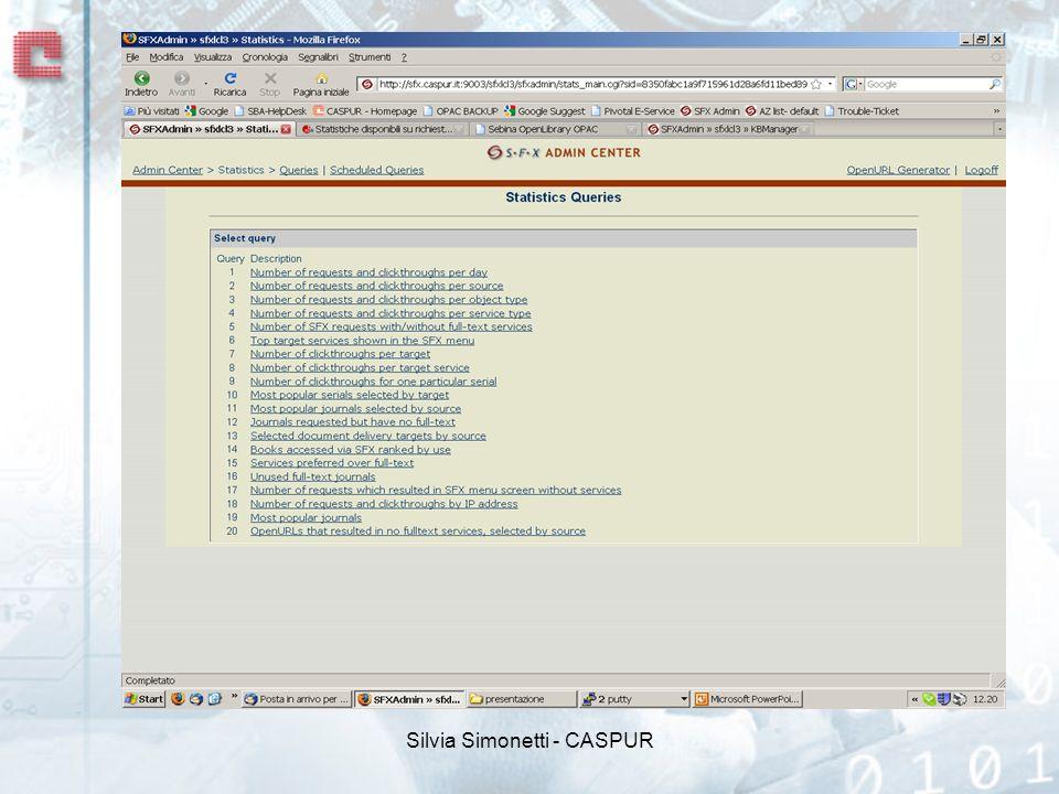 Come interpretare le voci clickthroughs - numero di click per accedere dal menu SFX ai servizi elencati object - oggetti, in genere periodici e libri collegati ad un target e ad un servizio (es.